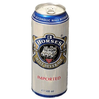 Picture of 3 Horses Malt Beverage Can (  500 ML * 24 Cans )