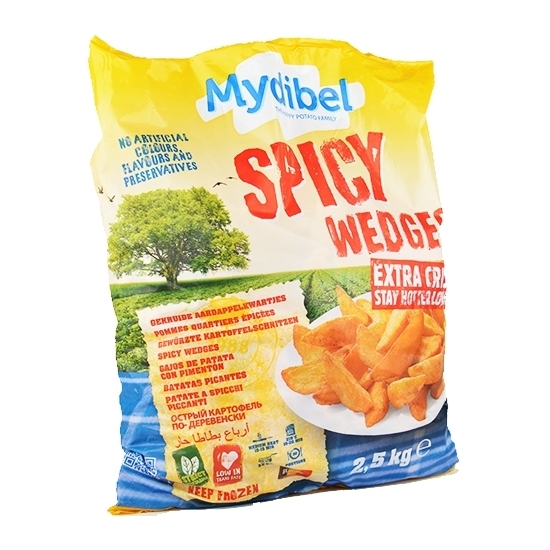 Picture of Mydibel Frozen French Fries Spicy Wedges Coated Gold -18M (FUN)108-( 4 Pieces * 2500 GM )
