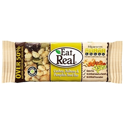 Picture of EAT REAL CASHEW SULTANA & PUMKIN SEED BAR 40 GM