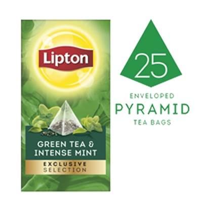 الصورة: ليبتون شاي أخضر بالنعناع (٦×٢٥ باكيت شاي هرمي)