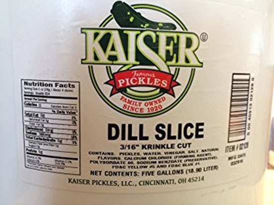 Picture of Kaiser Dill Pickles Slice 1\4 ( 4 Pail *  5 KG   )