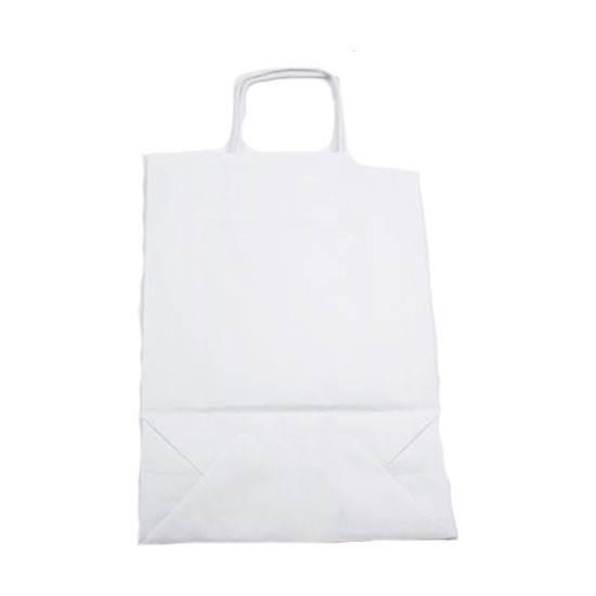 صورة اكياس ورق مع مسكة لون أبيض قياس 25X33X10