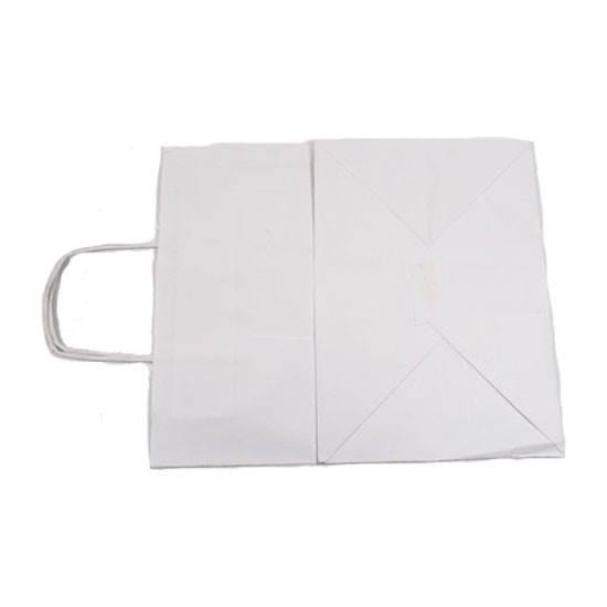 صورة اكياس ورق مع مسكة لون أبيض قياس 34X29X20