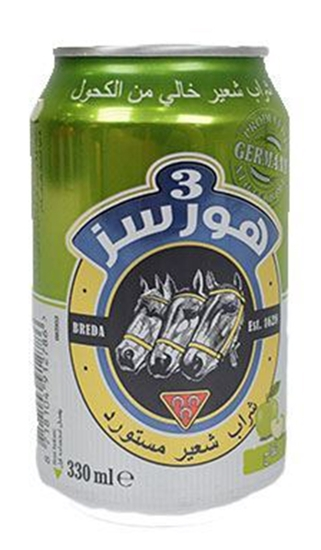 Picture of 3 Horses Apple Malt Beverage(  330 ML * 24 Can )