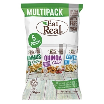 Picture of EATREAL MULTIPACK HUMMUS , QUINOA & LENTIL CHIPS 116 GM