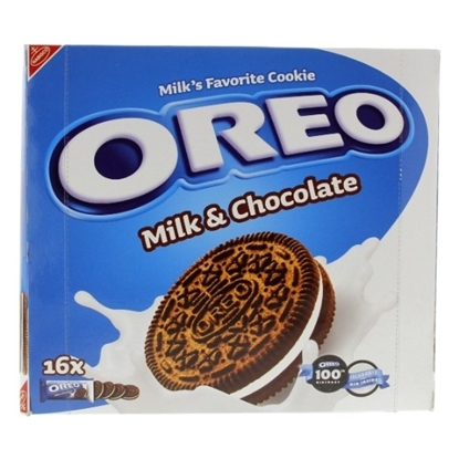 الصورة: بسكويت اوريو  بالحليب و الشوكولاته   38 جم  ( 8*16)