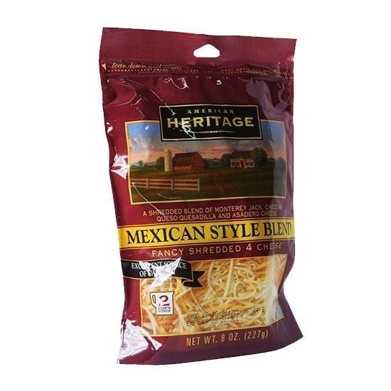 Picture of Heritage Chedar Cheese Mexican Style Belend Fancy Shredded 4 Cheese ( 227 GM * 12 Piece  )