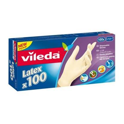 Picture of Vileda Disposable Latex Gloves 100Pcs Samll