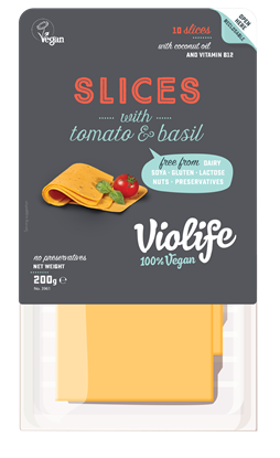 Picture of VIOLIFE DAIRY FREE WITH TOMATO BASIL FLAVOUR SLICES 200 GM VEGAN