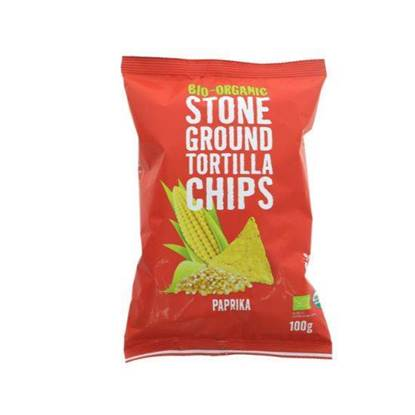 Picture of TRAFO ORGANIC STONE GROUND TORTILLA CHIPS PAPRIKA 100 GM