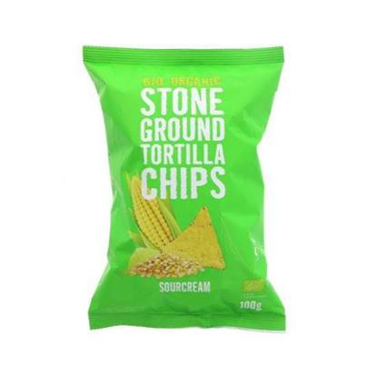 Picture of TRAFO ORGANIC STONE GROUND TORTILLA CHIPS SOURCREAM 100 GM