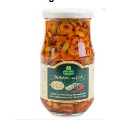 Picture of HALWANI SLICED GREEN OLIVES WITH CHILLI 325 GMS