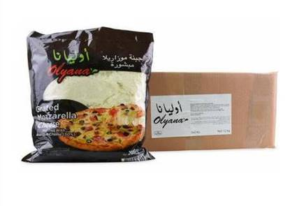 Picture of Olyana Mozzarella Cheese 70% Dairy, 30% Analogue Shredded   ( 2 KG * 6 Packet  )