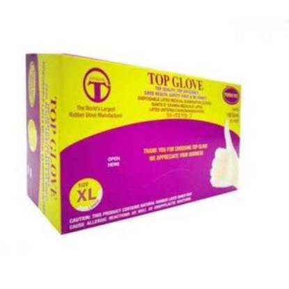 الصورة: Top Gloves Latex Medical Clear HD Gloves Size X Large Medical Use  100 x 10
