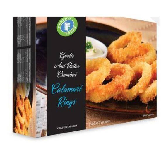 Picture of Freshly Foods CALAMARI RINGS GARLIC BUTTER CRUMBED FRESHLY 250 G