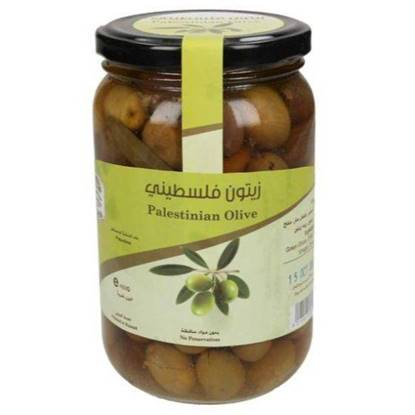 Picture of Farmers Market Palestinian Green Olives Glass Jar 400g