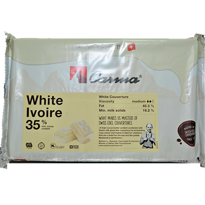 Picture of CARMA WHITE SWISS LINE COUVETURE BLOCK 2KG 35% COCOA