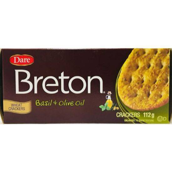 Picture of Dare Breton Basil & Olive Oil Crackers 112g