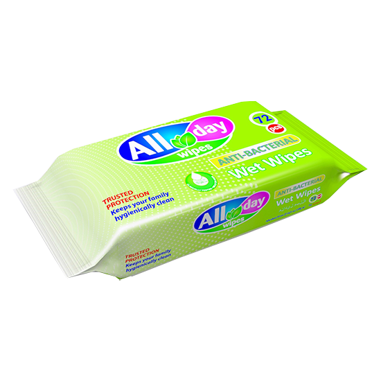 Picture of All day  Antibacterial Wet Wipes (72wipes) x 3