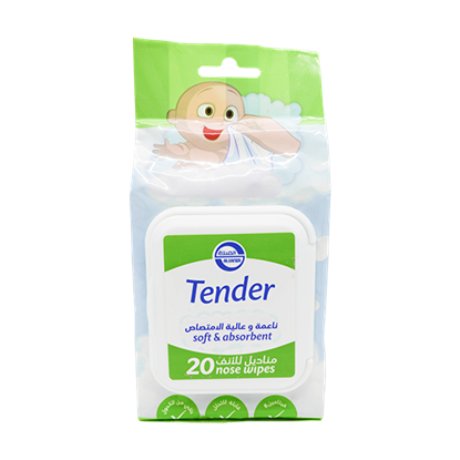 Picture of Tender baby nose wipes soft and high absorbent 20 wipes
