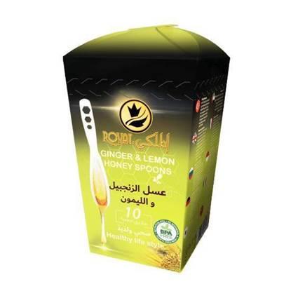 الصورة: رويال الملكي ملاعق عسل الزنجبيل والليمون 7 جرام*10